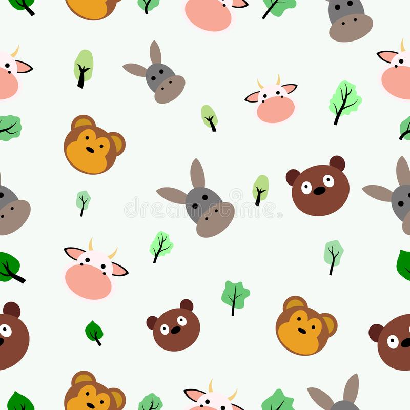 hand draw trees and animal vector vector illustration
