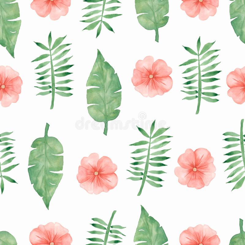 Hand draw tropical soft red flowers and green leaves pattern on white background stock illustration
