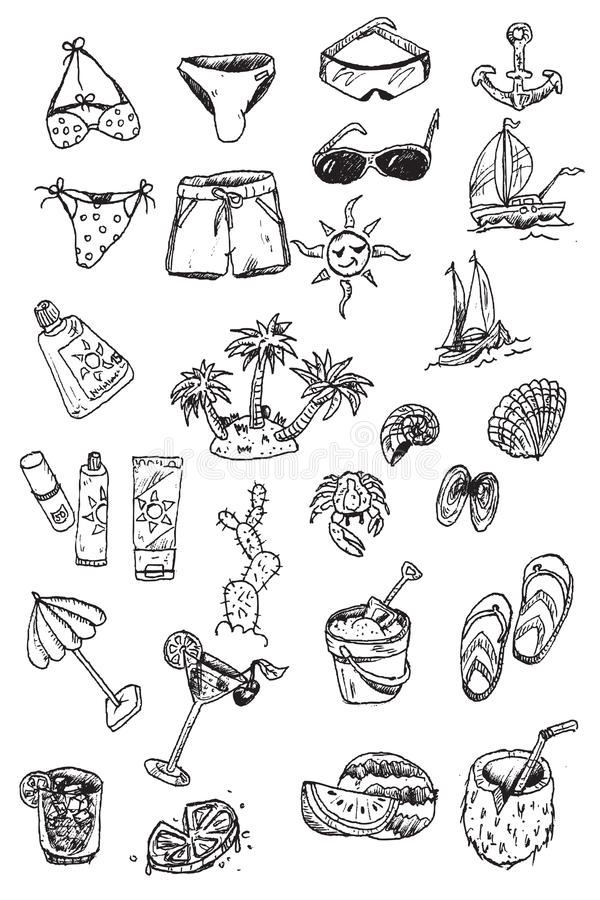 Download Hand Draw Vacation Elements Royalty Free Stock Images - Image: 15427839