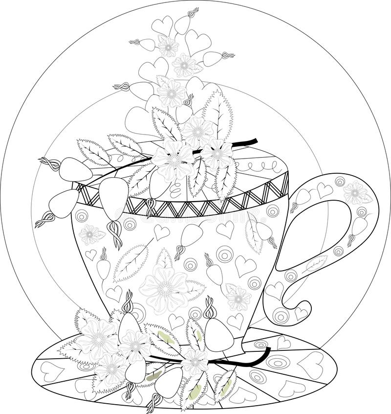 Hand draw vector coloring book for adult. Teatime. Cups of tea, fruits and flowers stock image