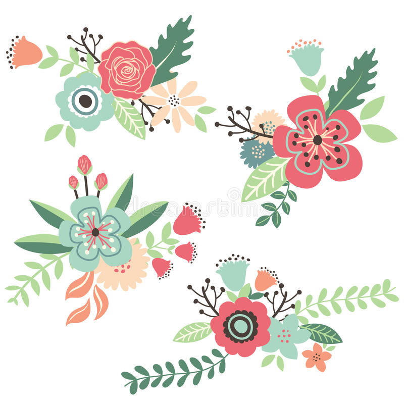 Hand Draw Vintage Floral Set stock illustration