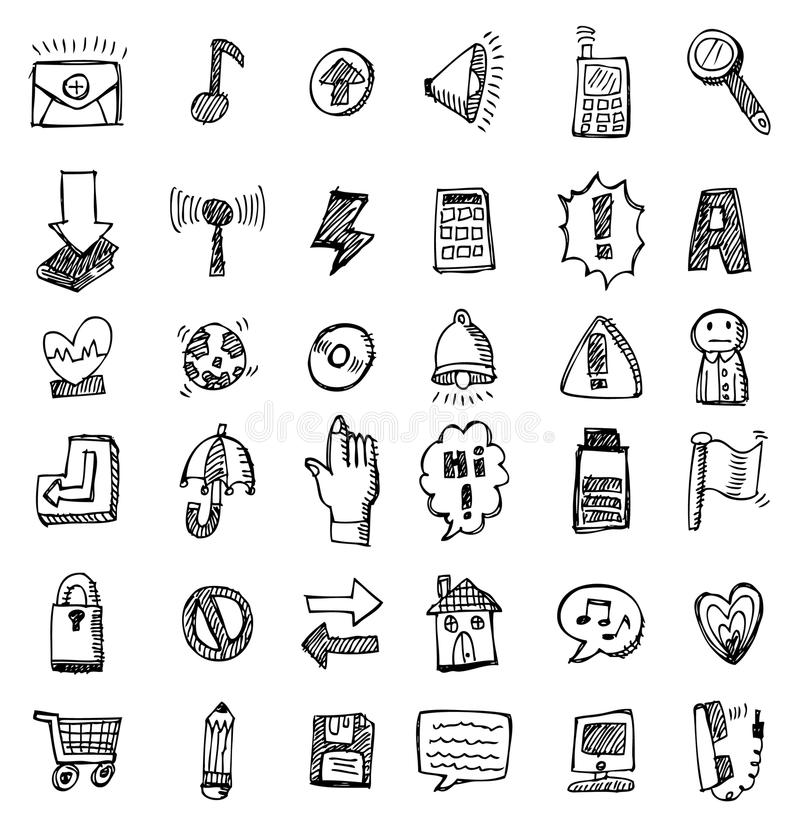 Download Hand draw web icon stock illustration. Illustration of collection - 17866425
