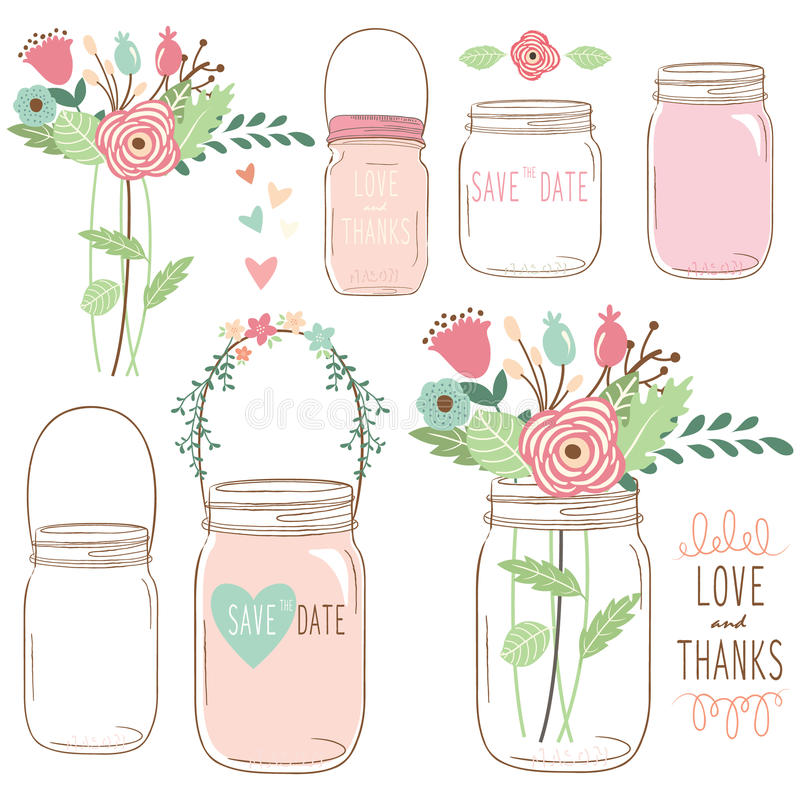 Hand Draw Wedding flower Mason Jar royalty free illustration