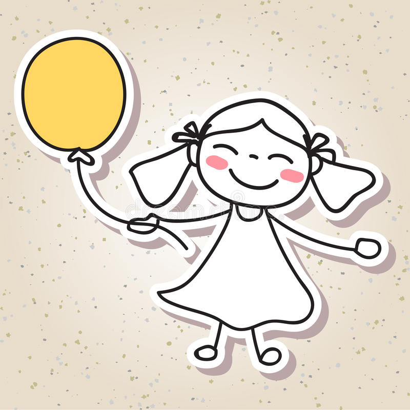 Hand drawing abstract people happy kid happiness concept stock illustration