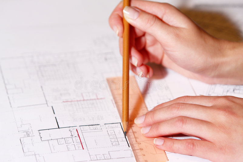 Download Hand Drawing Architectural Plan With Pencil Stock Photo - Image: 6907086