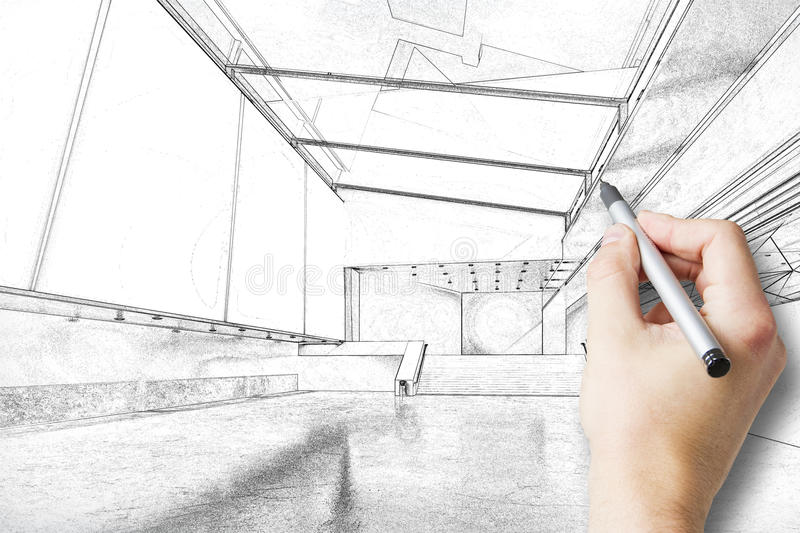 Hand drawing architectural sketch. Hand drawing real estate sketch with pen royalty free stock photos