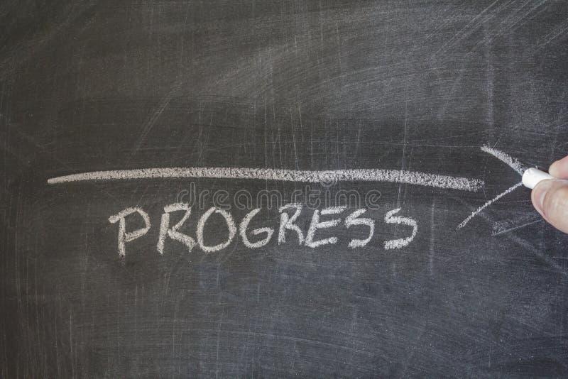 Progress written on blackboard. Hand drawing an arrow with chalk on a blackboard. Concept of progress royalty free stock image