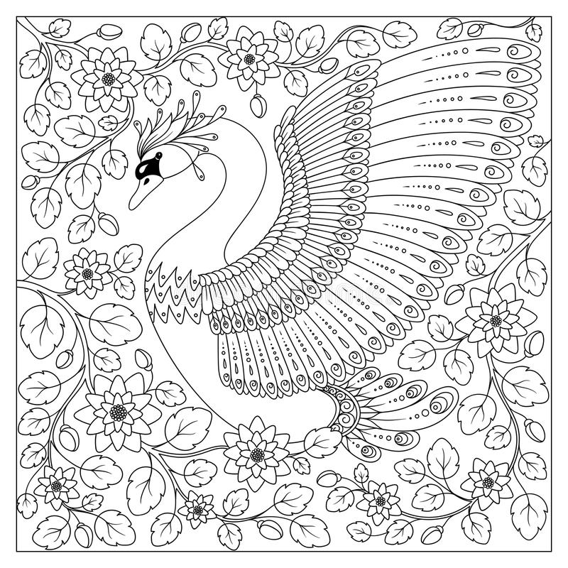 Hand drawing artistic Swan in flowers for adult coloring pages royalty free illustration