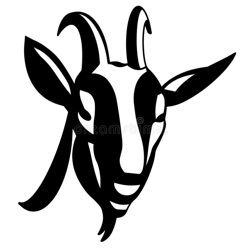 Free Hand Drawing Black And White Goat Face Stock Image - 187537331