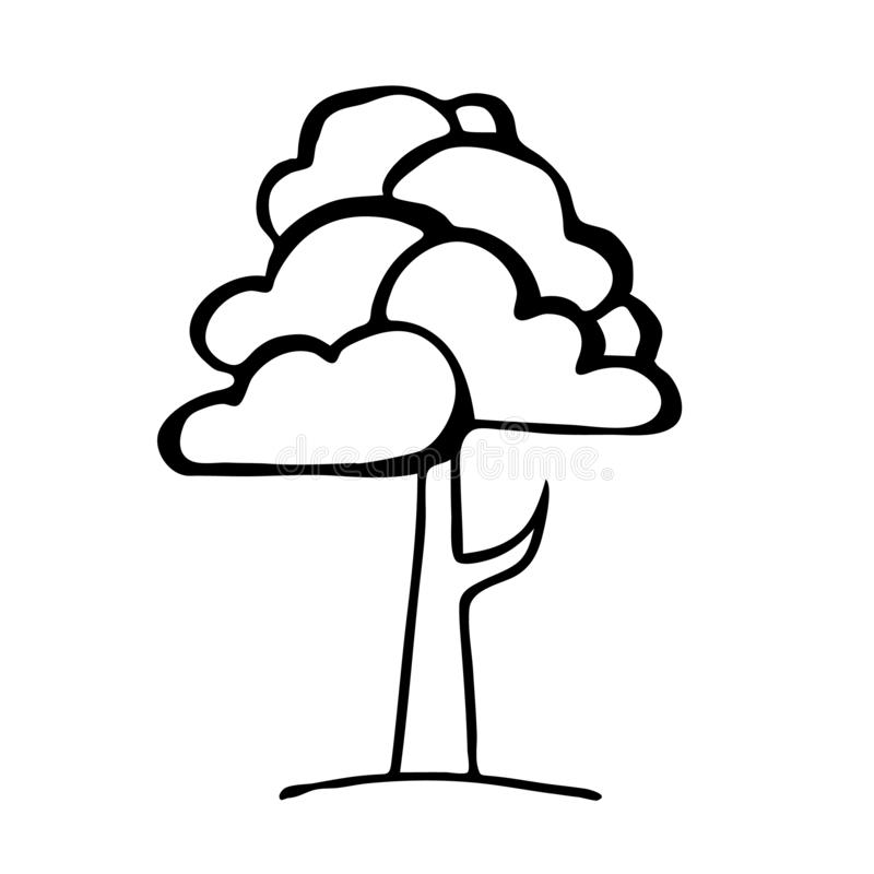 Free Hand Drawing Black And White Tree. Cartoon Style Royalty Free Stock Photography - 138822507