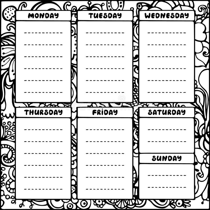 hand drawing black and white weekly planner template