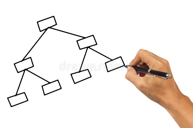 Hand Drawing Blank Network Structure  Stock Photo