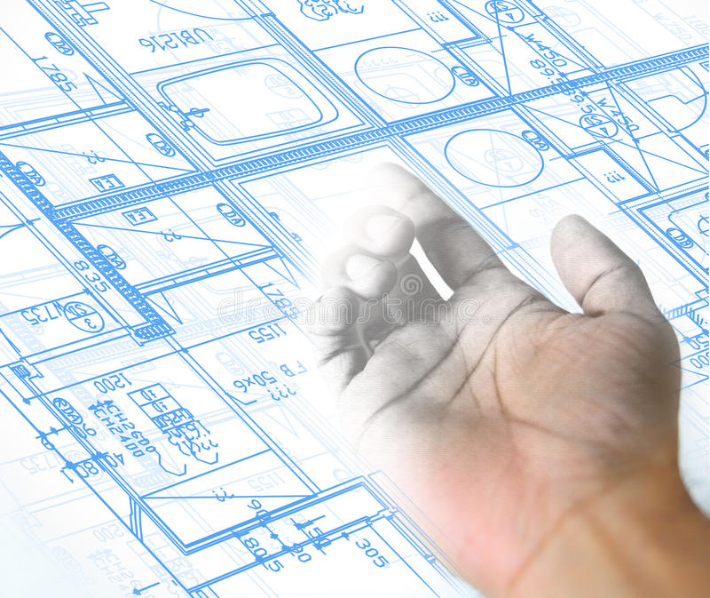 hand drawing and blueprint architectural background royalty free illustration