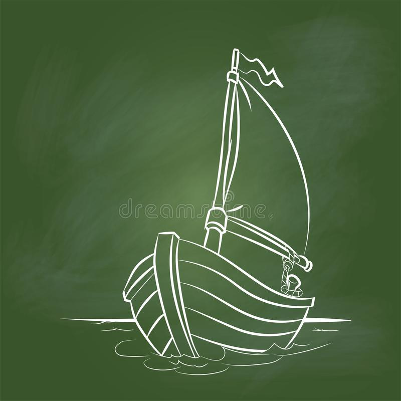 Hand drawing Boat Cartoon on Green board -Vector illustration. Hand drawing Boat Cartoon on textured green board. for Education Concept, Vector Illustration vector illustration