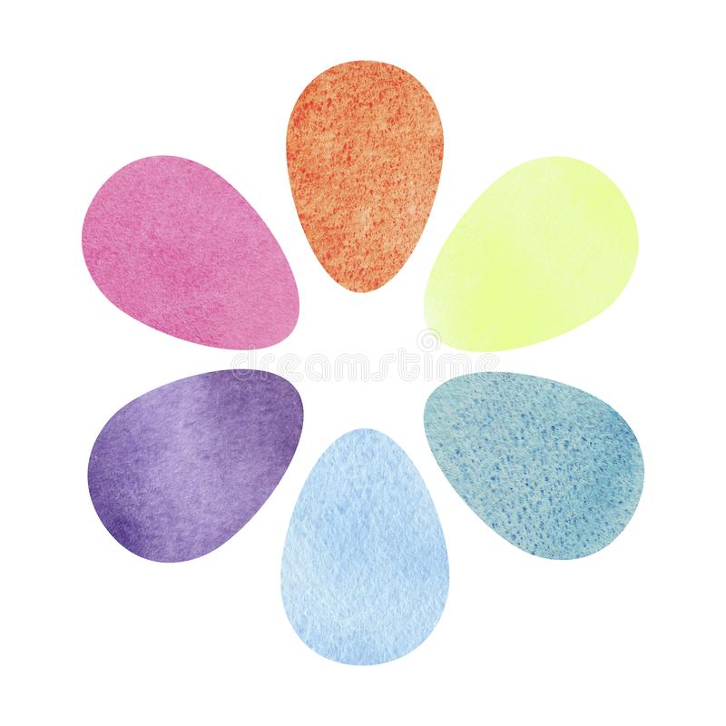 Hand drawing brush Illustration of palette with watercolors .Artistic design royalty free illustration