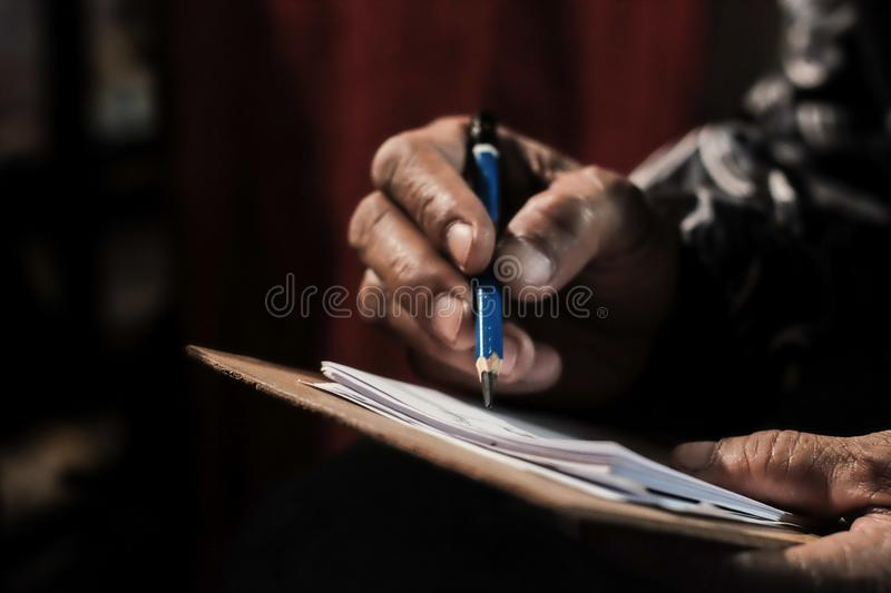 Hand drawing by pencil royalty free stock photo