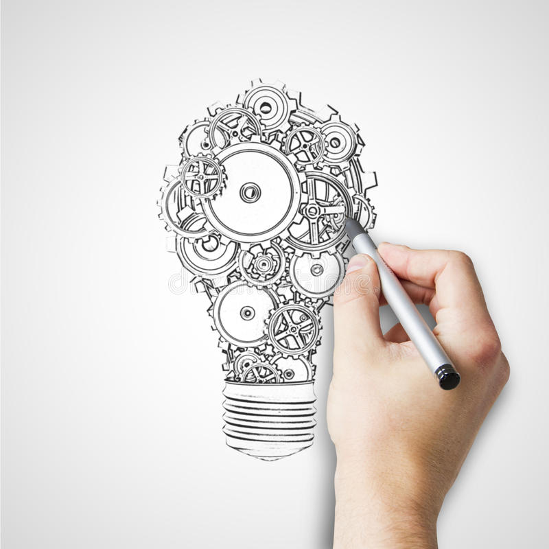Hand drawing bulb. With gears and cogs royalty free stock images