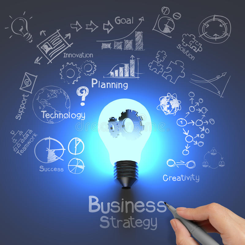 Hand drawing business strategy and light bulb. With gears as concept royalty free stock image
