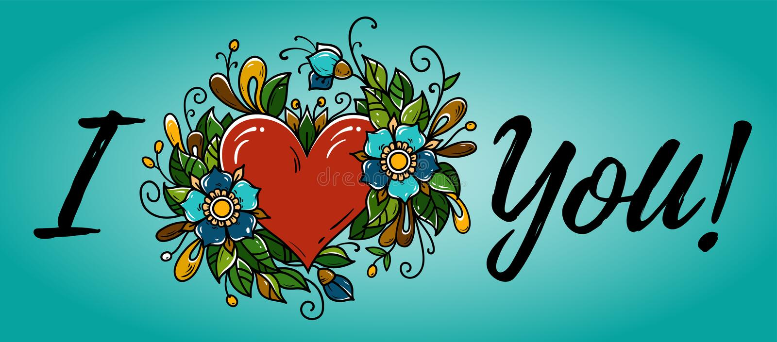 Hand drawing calligraphy I Love You and red heart decorated flowers and leaves. Banner I love you for Valentines Day. vector illustration