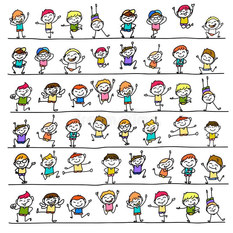 Free Hand Drawing Cartoon Character Happy Kids Stock Photos - 45109193