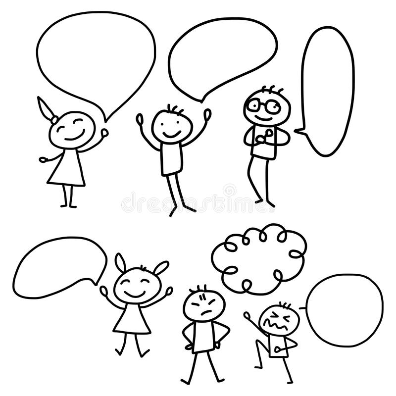 Hand drawing cartoon concept happy people discuss business plan vector illustration
