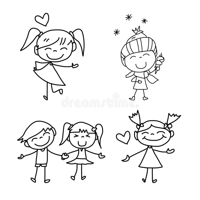 Free Hand Drawing Cartoon Happy Kids Stock Images - 33596544