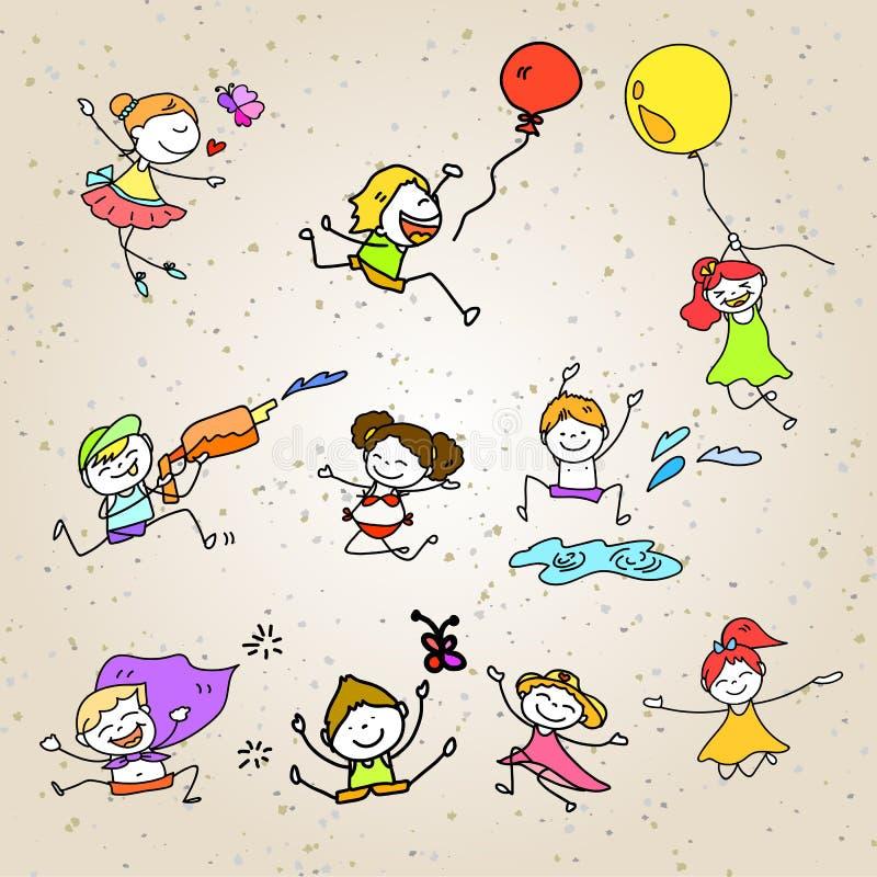 Hand drawing cartoon happy kids playing vector illustration
