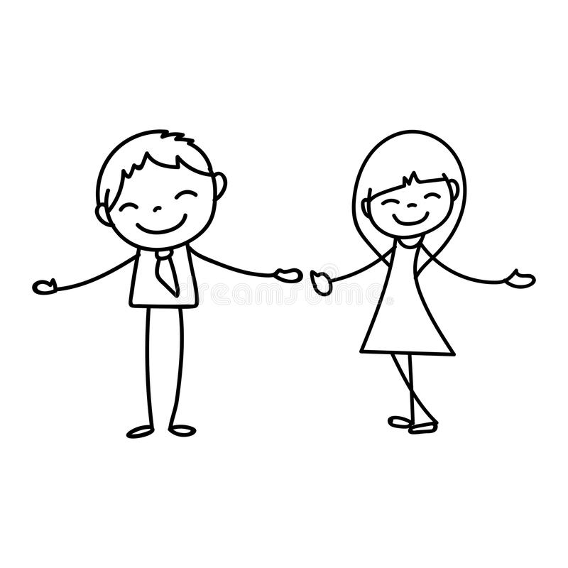 Hand drawing cartoon happy people vector illustration