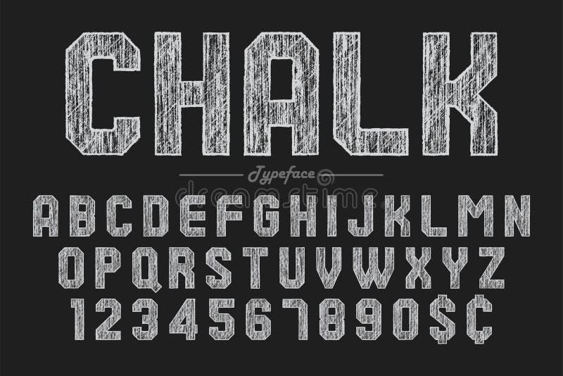 Hand drawing chalk font for chalkboard, pub and bar design royalty free illustration