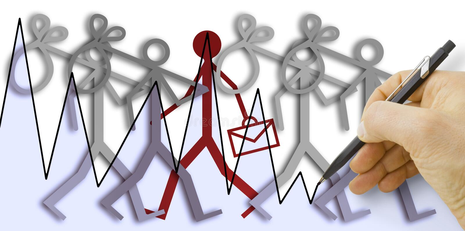 Hand drawing a chart about employment and unemployment trends - concept image.  stock image