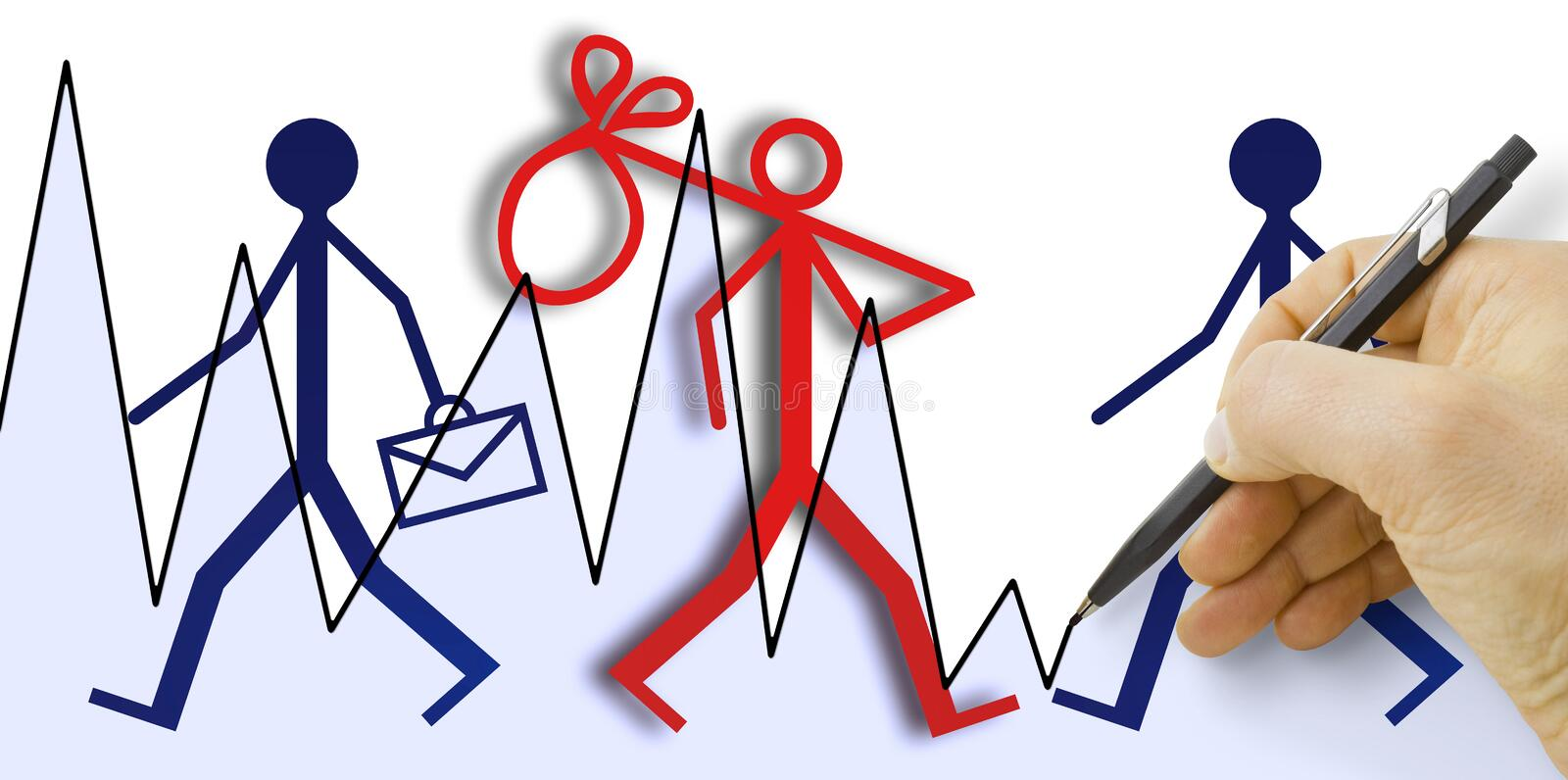 Hand drawing a chart about employment and unemployment trends  - concept image.  stock images