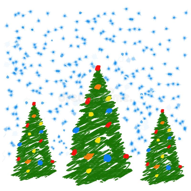 Hand drawing christmas tree with balls. Like child`s drawing crayon or pencil bright green fir-tree. Like kids drawing vector dood stock illustration