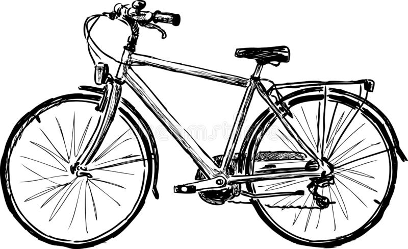 Hand drawing of a city bicycle royalty free illustration