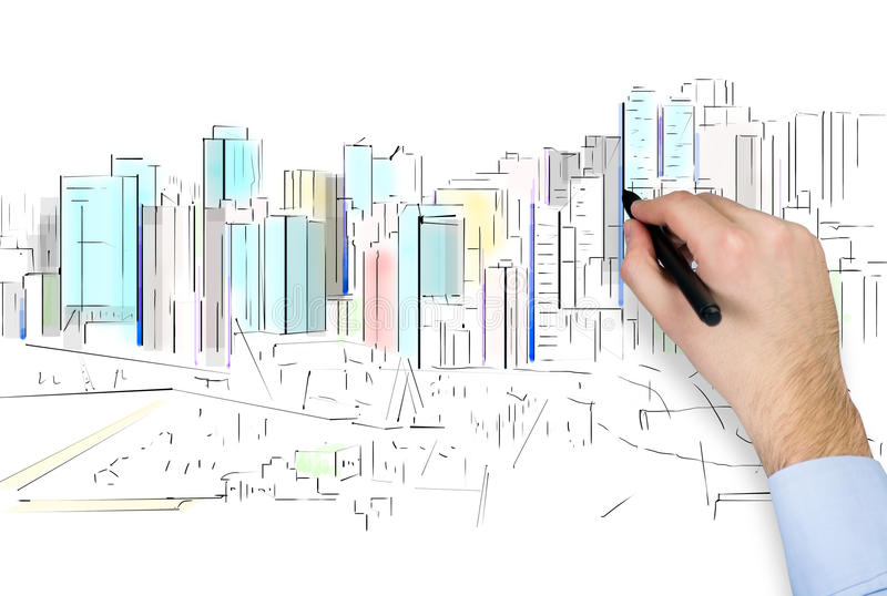 Hand drawing city vector illustration
