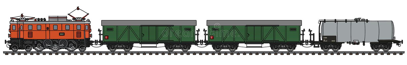 Old electric freight train royalty free illustration