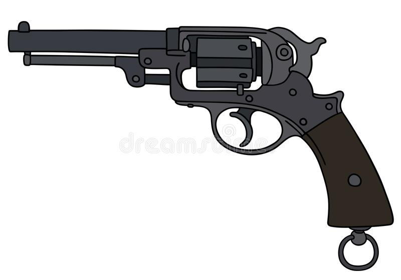 Vintage military revolver. Hand drawing of a classic revolver stock illustration