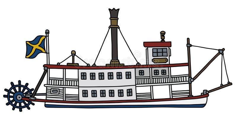 The vintage steam paddle riverboat vector illustration