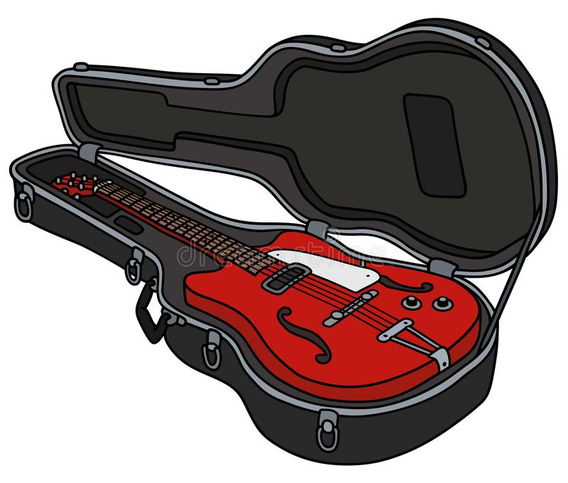 The old red electric guitar in a case vector illustration