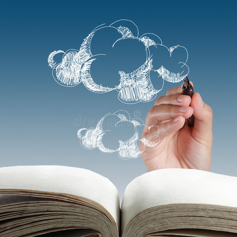 Hand drawing cloud network. Open book of hand drawing cloud network stock photography