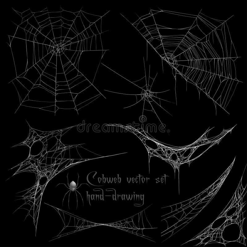 Hand drawing cobweb set vector illustration