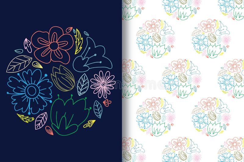 Hand drawing colorful flower lines with editable patterns vector illustration