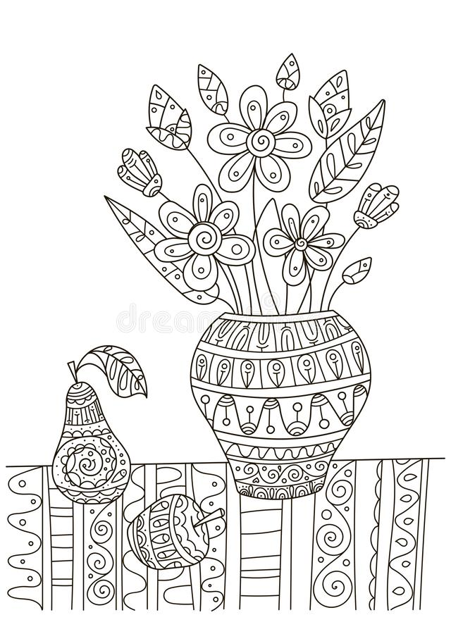 hand drawing coloring book children adults beautiful pattern small details creativity antistress decor still life