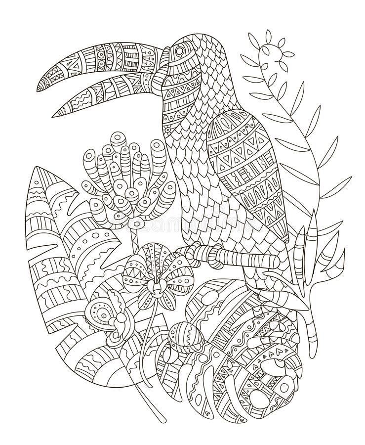 Hand Drawing Coloring Pages For Children And Adults. A Beautiful Pattern  With Small Details For Creativity. Antistress Coloring Stock Vector -  Illustration Of Black, Flower: 170006202