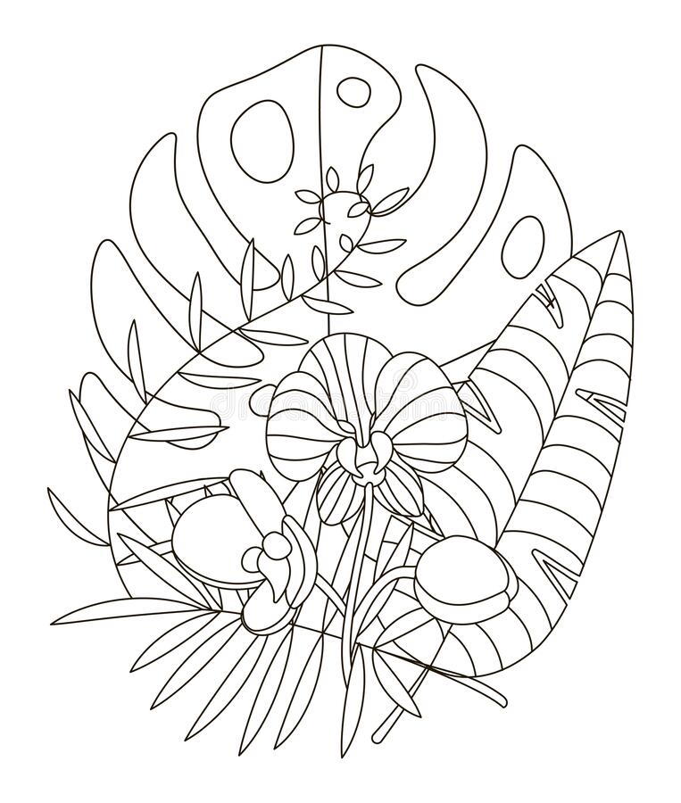 Hand Drawing Coloring Pages For Children And Adults. Linear Style Flower  Coloring Book For Creative Creativity Stock Vector - Illustration Of  Botanical, Black: 170005872