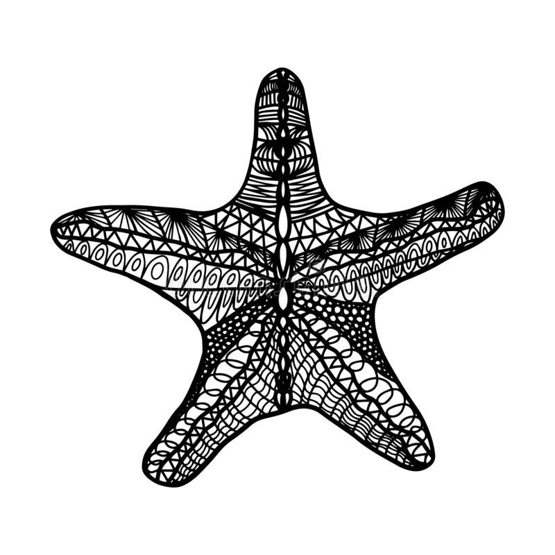 Hand drawing coloring starfish for kids and adults. Beautiful drawing isolate on white background.One of a series of coloring pic. Hand drawing coloring starfish stock illustration
