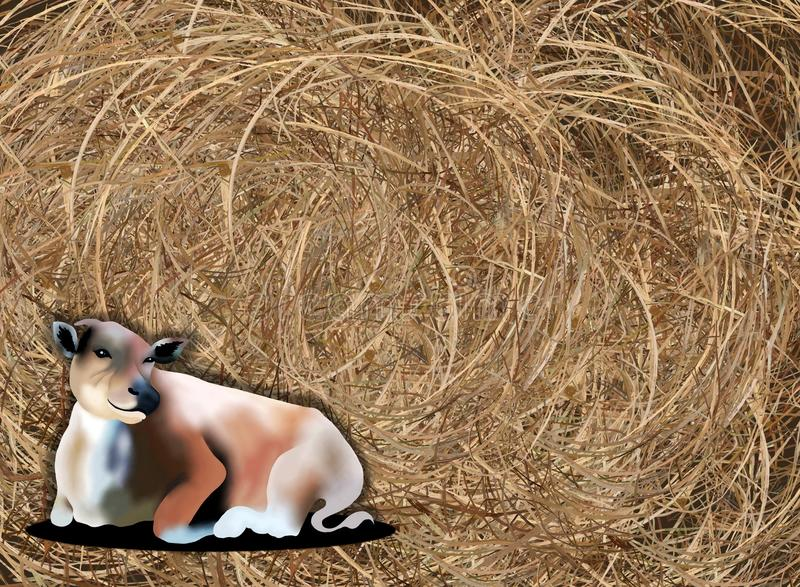 Download Hand Drawing Of A Cow On Haybale Background Stock Illustration - Image: 28351080
