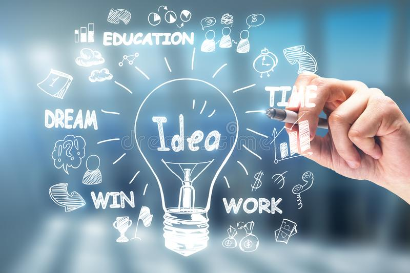 Idea, innovation and leadership concept stock images