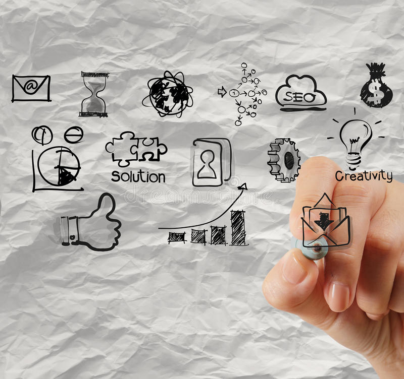 Hand drawing creative business strategy on crumpled paper background. As concept stock photos