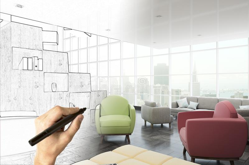 Real estate, engineering and plan concept. Hand drawing creative interior sketch. Real estate, engineering and plan concept. 3D Rendering vector illustration