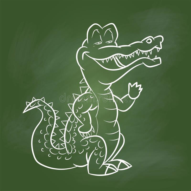 Hand drawing Crocodile Cartoon on Green board -Vector illustration vector illustration